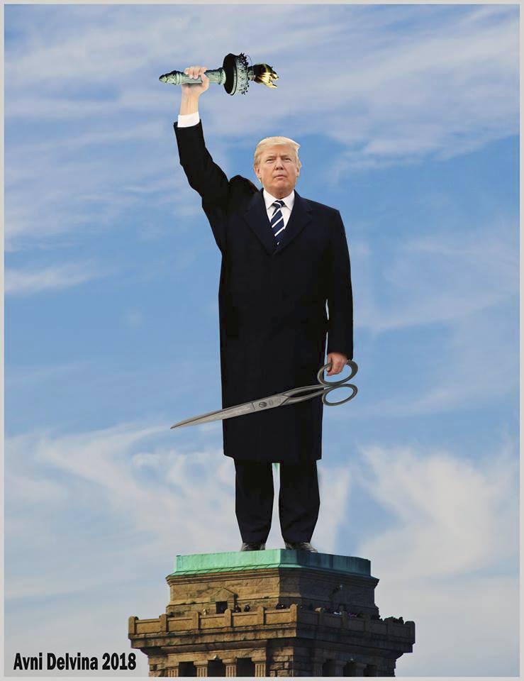 Hrdinský Trump na místě Sochy svobody