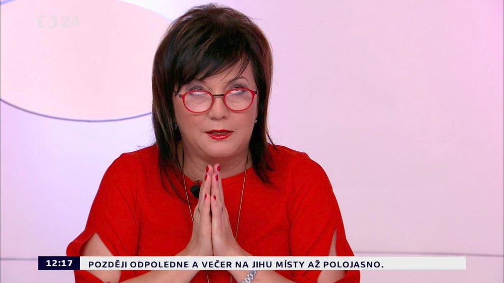 Alena Schillerová v Otázkách Václava Moravce při debatě s Miroslavem Kalouskem