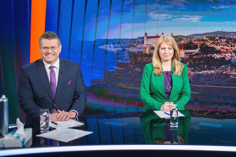 Kandidáti na prezidenta Slovenska Zuzana Čaputová a Maroš Šefčovič.