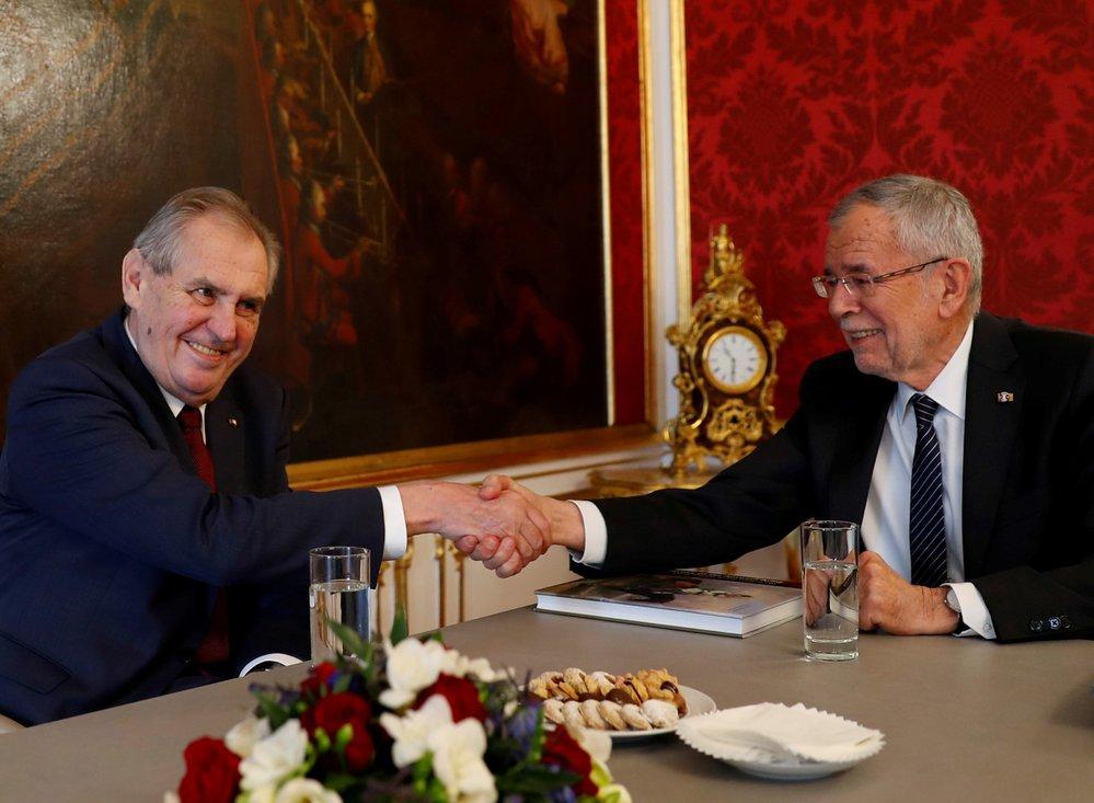 Prezident Miloš Zeman na státní návštěvě Rakouska, kde ho vítal Alexander Van der Bellen (3. 4. 2019)