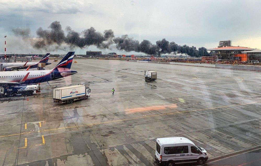 Požár letadla v Moskvě