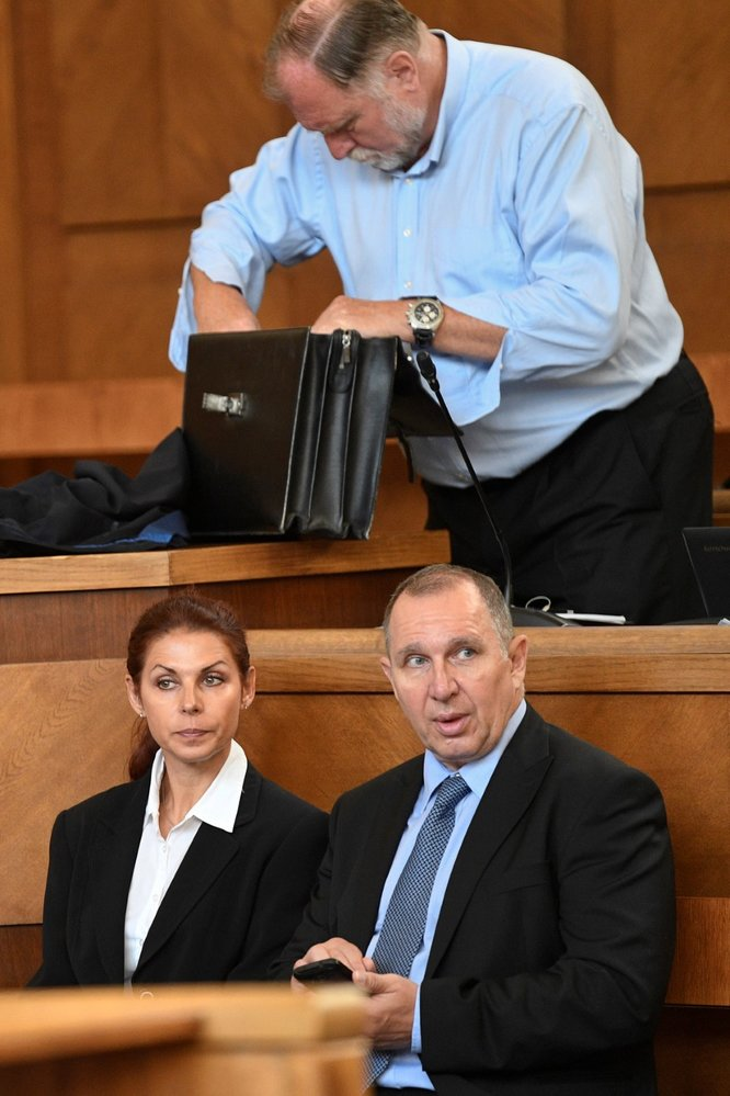 Soud s Davidem Rathem: Tomáš Sokol (nahoře), Petr Kott a Kateřina Pancová (10. 6. 2019)