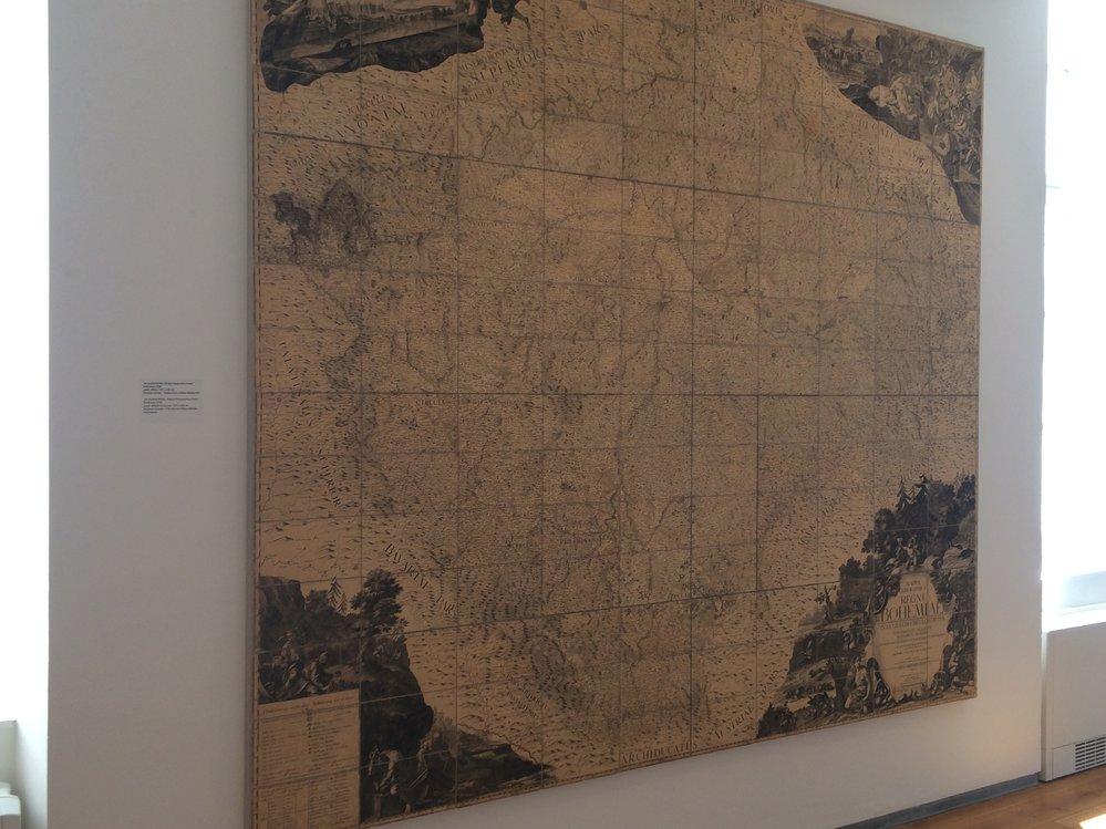 Obrovským unikátem celé výstavy je pravá mapa Čech Jana Kryštofa Müllera  z roku 1720.