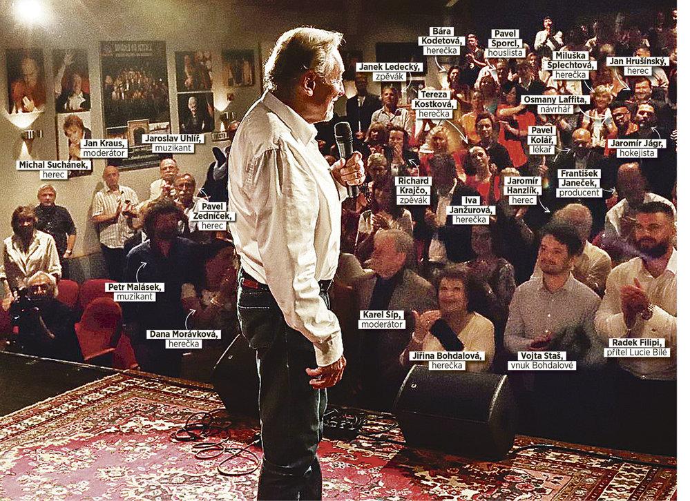 Takhle seděli slavní na osmdesátinách Karla Gotta