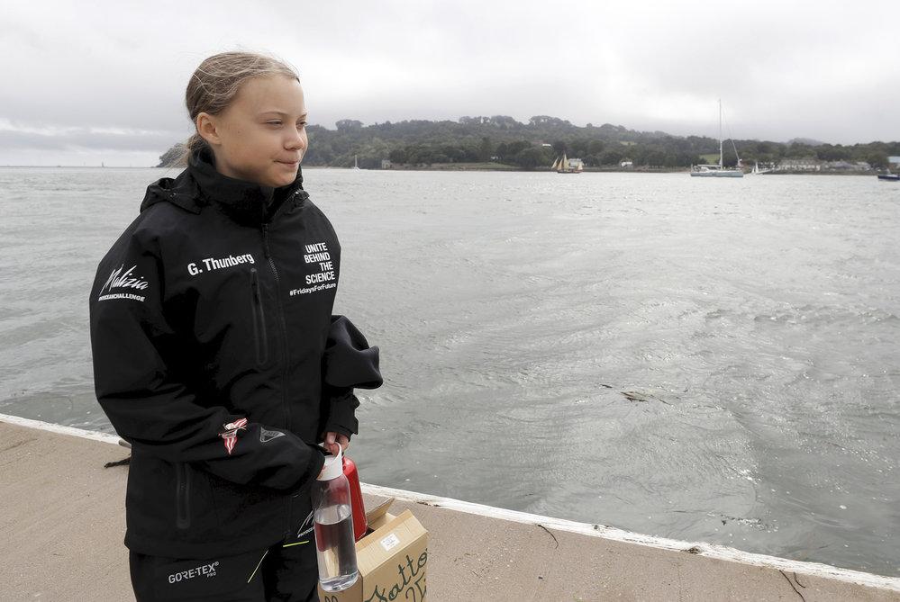 Mladá švédská aktivistka Greta Thunbergová po 14 dnech na moři dosáhla se svou posádkou newyorského Manhattanu (28.8.2019).