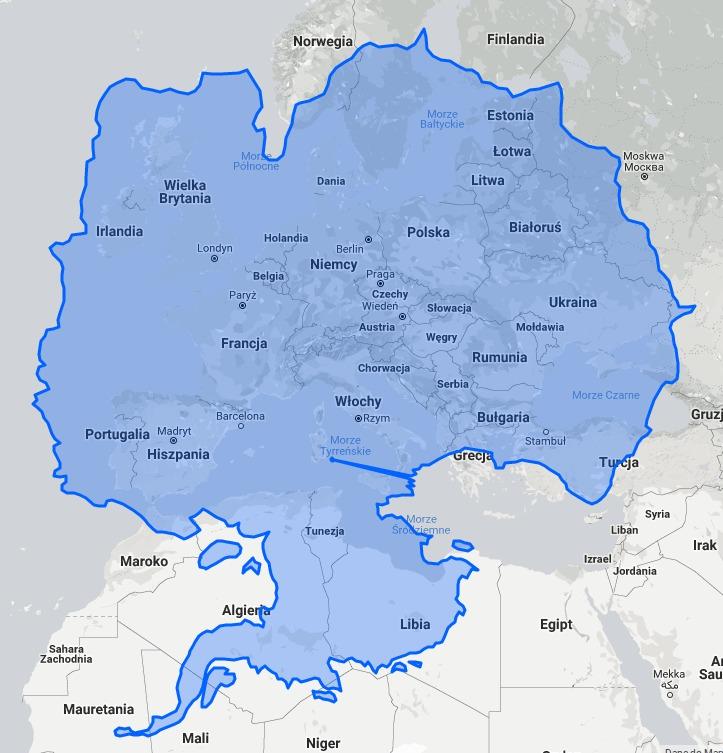 Porovnání velikosti Antarktidy s Evropou