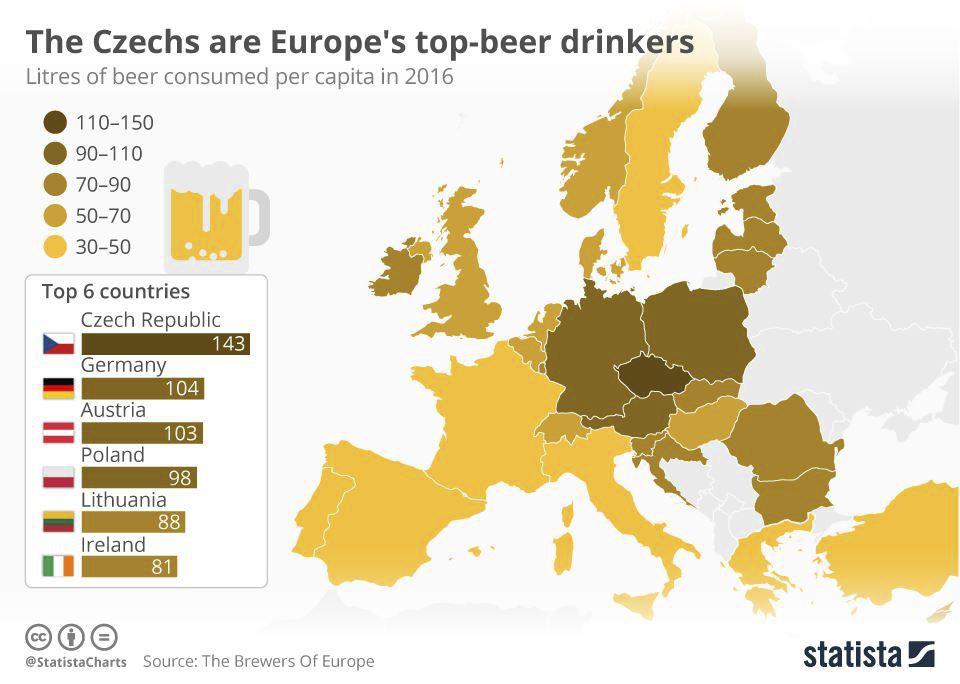 Mapa spotřeby piva Evropě. České prvenství asi nepřekvapí