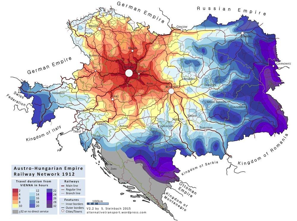Takhle vypadala železniční síť Rakouska-Uherska