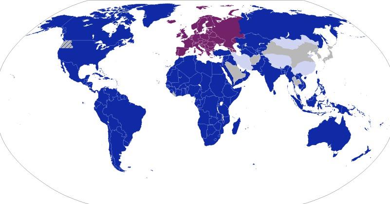 Všechny modré státy patřily mezi evropské kolonie