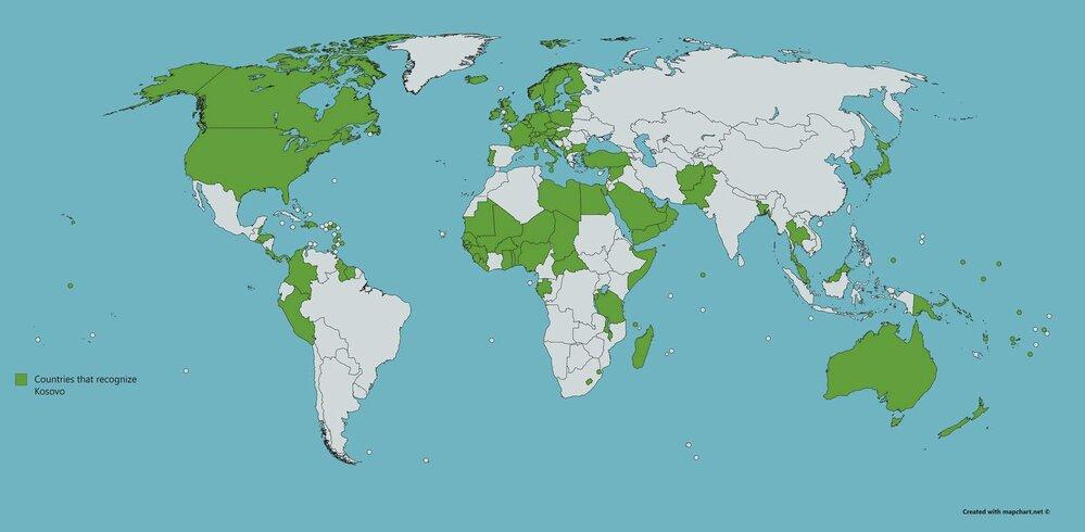 Země, které uznaly Kosovo jako samostatný stát