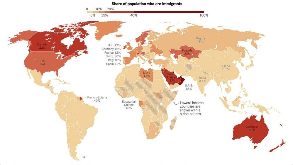 Procento obyvatel - imigrantů