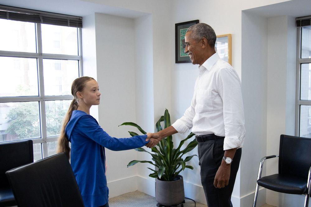Greta Thunbergová s americkým exprezidentem Barackem Obamou