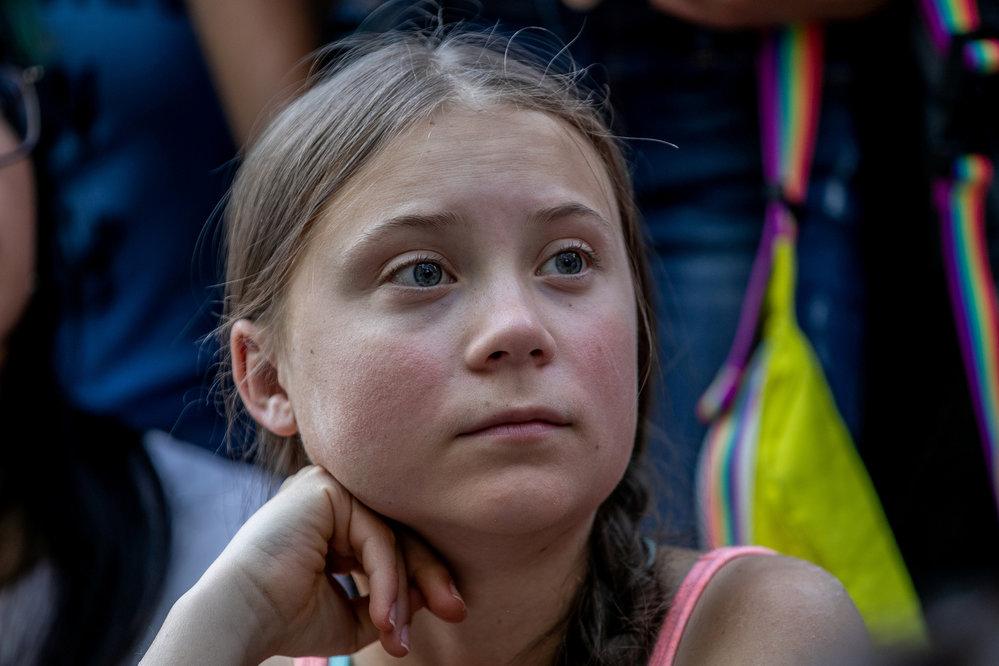 Greta Thunbergová, mladá švédská klimatická aktivistka.