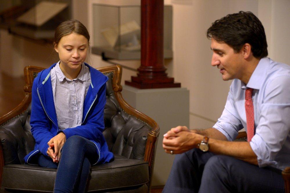 Kanadský premiér Justin Trudeau se setkal s aktivistkou Gretou Thunbergovou.