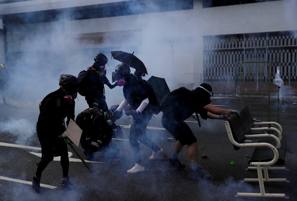 Demonstrace v Hongkongu u příležitosti 70. výročí komunistické Číny (1. 10. 2019)