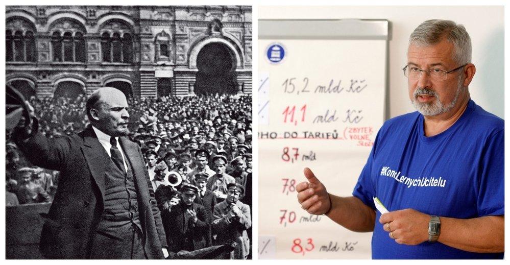 Šéf VŘSR Vladimír Iljič Lenin a šéf školských odborů František Dobšík.