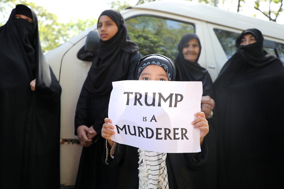 Protest proti Donaldu Trumpovi poté, co Američané zabili íránského elitního generála Solejmáního