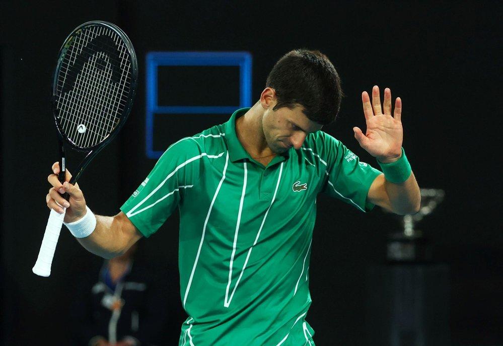 Srbský tenista Novak Djokovič během vítězného finále Australian Open s Rakušanem Dominicem Thiemem