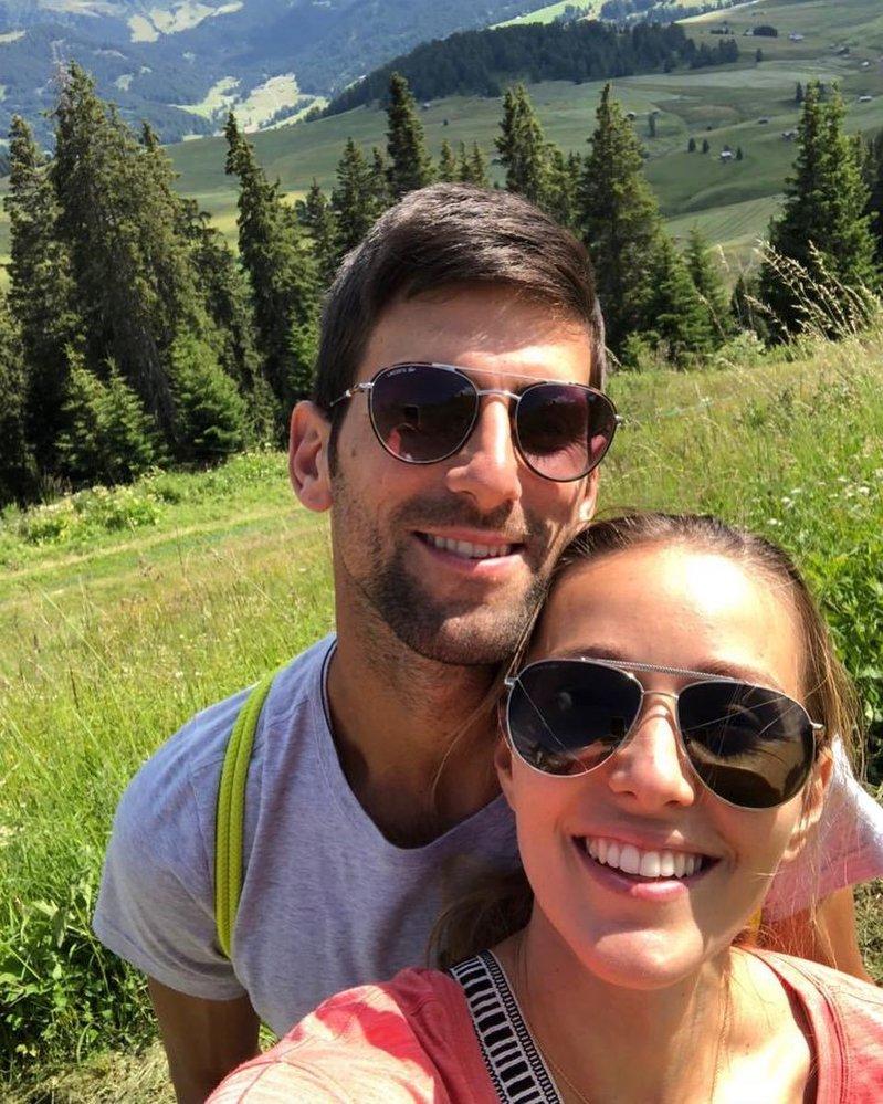 Novak Djokovič se svou ženou Jelenou
