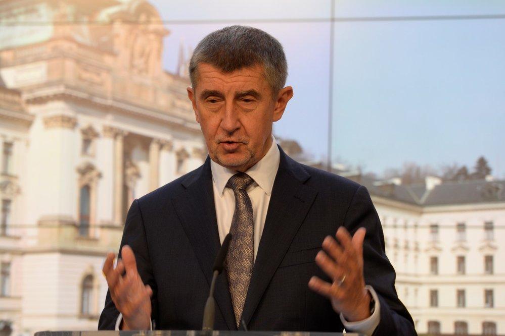 Premiér Andrej Babiš vystoupil 10. března 2020 v Praze na tiskové konferenci k aktuální situaci v souvislosti s výskytem koronaviru.