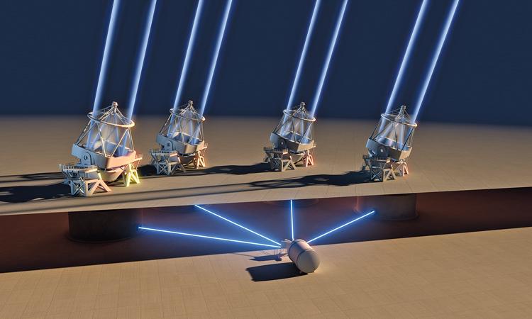 Světlo ze všech čtyř dalekohledů VLT je nasměrováno do přístroje ESPRESSO