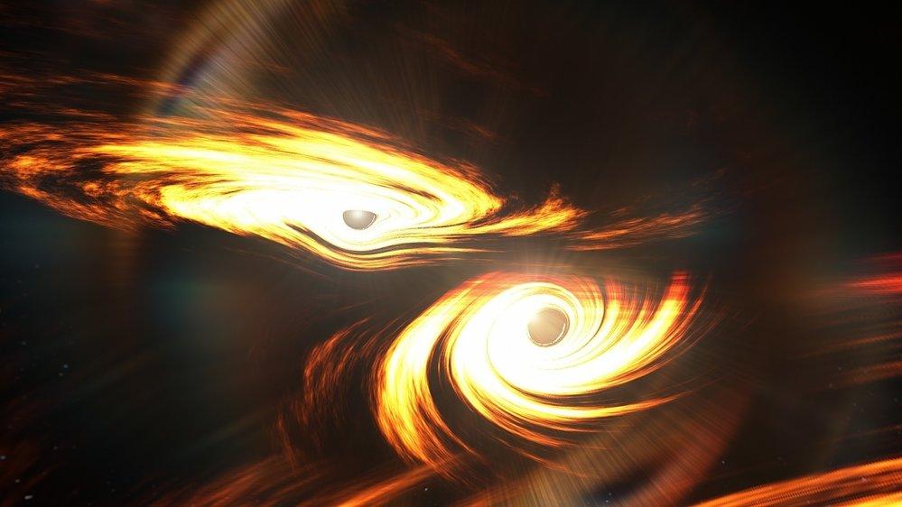 Ilustrace sloučení černých děr
