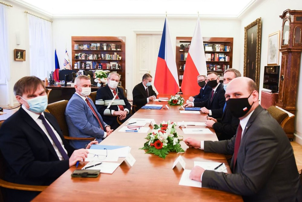 Prezident Miloš Zeman v Praze přijal polského prezidenta Andrzeje Dudu (9.12.2020)