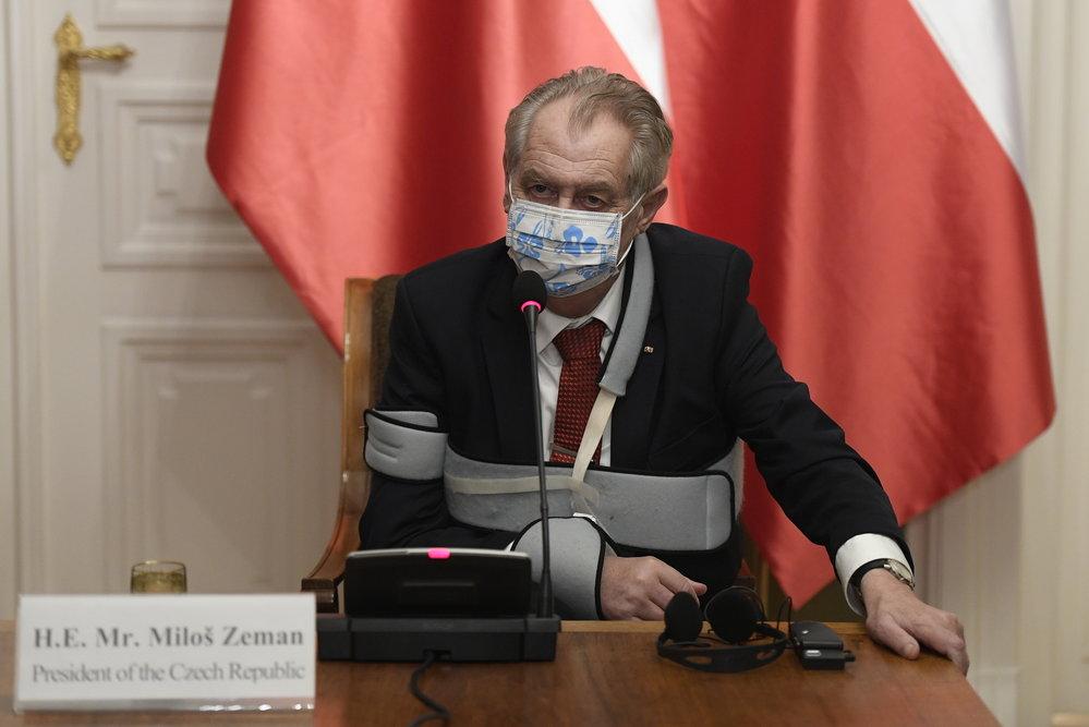 Společné jednání prezidenta Miloše Zemana a jeho polského protějšku Andrzeje Dudy (9.12.2020)