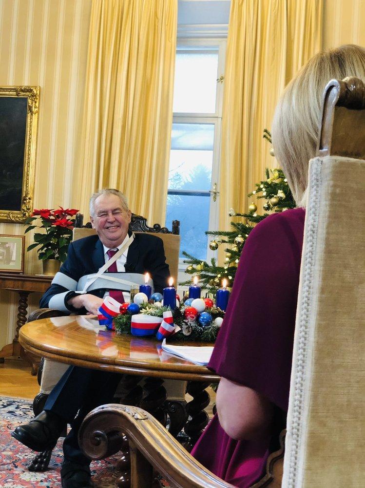 Prezident Miloš Zeman při natáčení Partie TV Prima