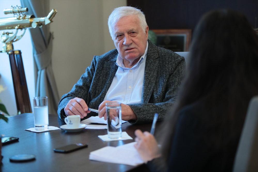 Exprezident Václav Klaus během rozhovoru pro Blesk v lednu 2021