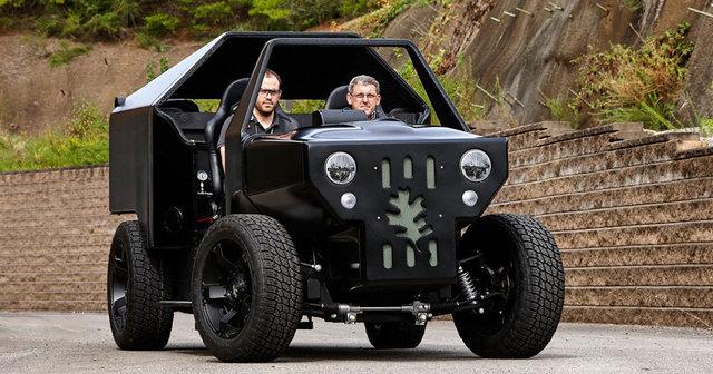 Ekologické auto vytisknuté v 3D tiskárně je plně pojízdné.