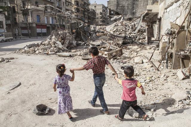 Zničené východní Aleppo