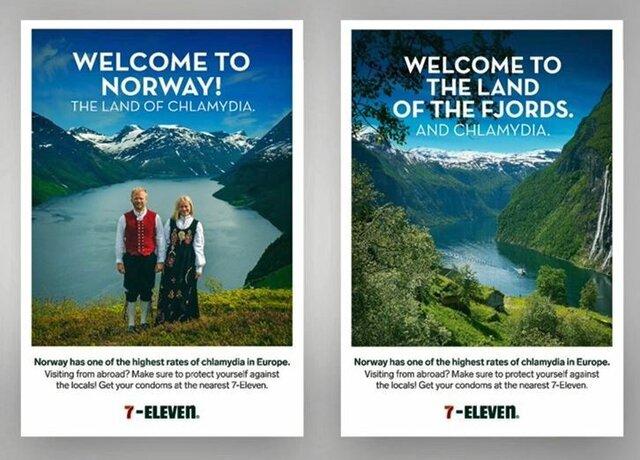 Kontroverzní reklama pro turisty: Norsko je země fjordů a pohlavní nemoci.