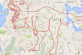 GPS umění: Cyklista vyšlapal Darth Vadera i dinosaury