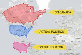 USA na rovníku a severněji na úrovni Kanady
