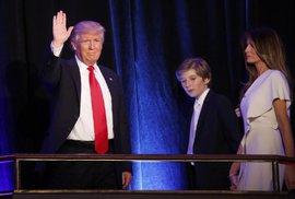 Trump během svého prvního projevu po vítězství v prezidentských volbách