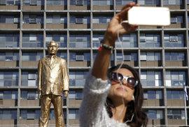 Zlatá socha premiéra Netanjahua v Tel Avivu