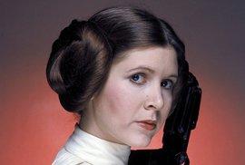 Carrie Fisher jako princezna Leia v původní trilogii Star Wars.
