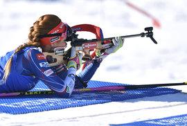 Česká biatlonistka Gabriela Koukalová při ležce na MS v Hochfilzenu