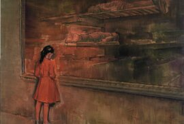 Attila Szűcs, Dívka v červeném, 2012, olej, plátno, 190x240 cm
