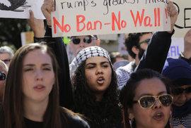 Lidé protestují proti Trumpovu zákazu pro přistěhovalce a zdi na hranicích s Mexikem.