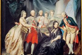 Marie porodila šestnáct dětí, dva z jejích synů se stali císaři (zcela vpravo Josef II.)