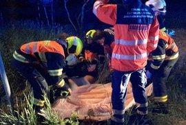 Fotky z nehody luxusního BMW, které zveřejnili jihomoravští hasiči.