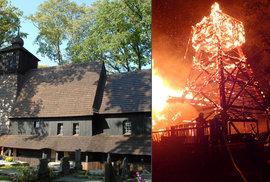 V třineckých Gutech shořel vzácný kostel z 16. století