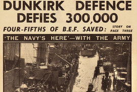 """Evakuace vešla do dějin jako """"dunkerský zázrak"""". List Daily Sketch jí věnoval titulní stranu."""
