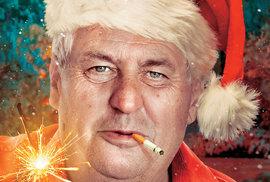 Veselé Vánoce se Santa Milošem a mnoha čertíky. Bude i prezidentská rybí polévka a cukroví?