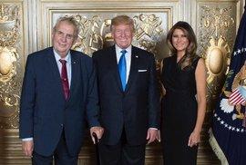 Miloš Zeman se na recepci v USA potkal s Donaldem Trumpem a jeho ženou Melanií