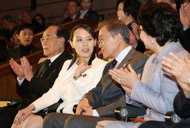 Jihokorejský prezident Mun Če In a Kim Jo Čong, sestra severokorejského diktátora Kim Čong Una