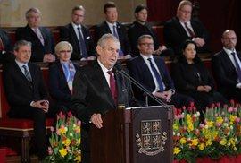Inaugurační projev Miloše Zemana: Bakala, Kožený, DSSS, novináři. Nu, už by spatra mluvit neměl