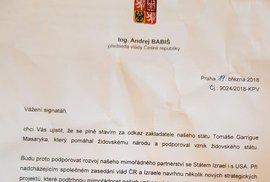 Dopis premiéra Andreje Babiše organizátorům petice za přesunutí české ambasády v Izraeli do Jeruzeléma